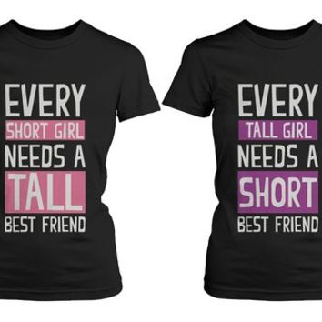 Girl Friendship - Best Friends Short and Tall - BFF Matching Shirts