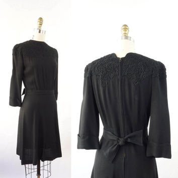 VINTAGE 1940s Soutache Black Dress Small