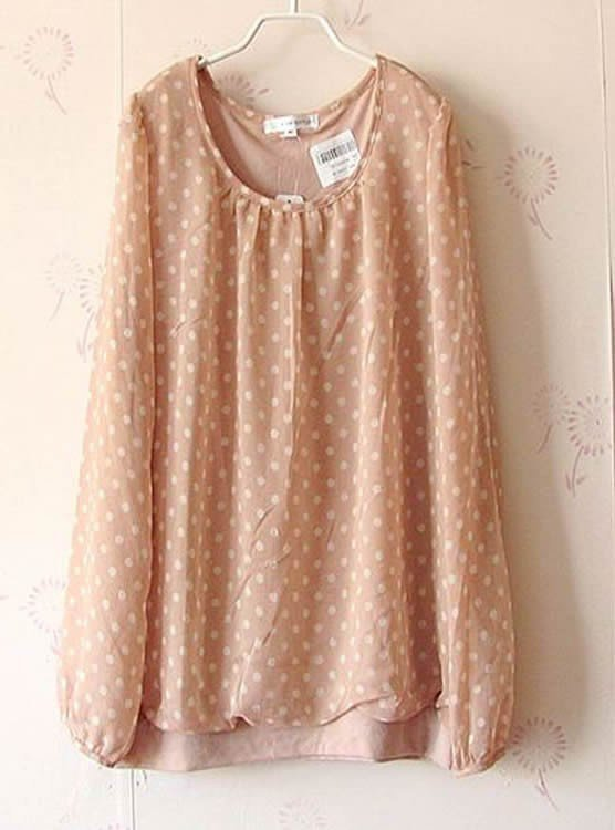Women A.V.V2012 Autumn New Candy Dotted Chiffon Long Sleeve Khaki T-Shirt One Size@II1023k $9.81 only in eFexcity.com.
