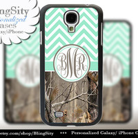 Monogram Galaxy S5 case S4 Real Tree Camo Mint Chevron Personalized Zig Zag Samsung Galaxy S3 Note 2 3 Cover Country Girl