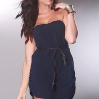 Navy Strapless Chiffon Braided Belt Ruched Sexy Mini Dress