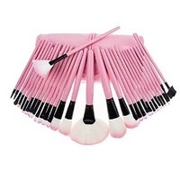 Professional Beauty 32 PCS Cosmetic Makeup Brushes Set with Pink