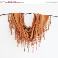 Summer Sale Lace Scarf Caramel Rustic Copper 2013 Fall Winter Trendy Color