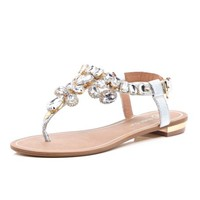 Silver gemstone embellished sandals - flat sandals - shoes / boots - women