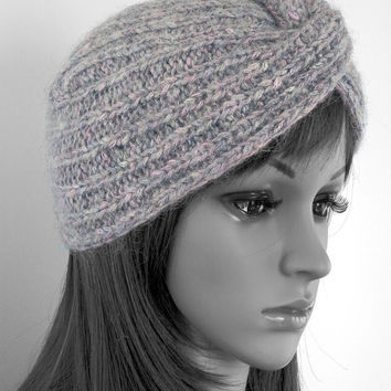 Hand knitted turban hat