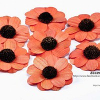 Orange Wooden Zinnia Flowers - One Dozen