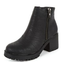 Black Zip Side Chunky Cleated Sole Block Heel Boots