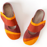Ballet flats slippers earth brown, orange, terracotta & tangerine linen, Gea women's house shoes with non slip soles