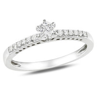 Lab-Created White Sapphire Solitaire and Diamond Accent Promise Ring in Sterling Silver