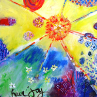 Colorful Abstract Painting Spring Sunshine Yellow on Canvas &quot;Have Joy&quot;