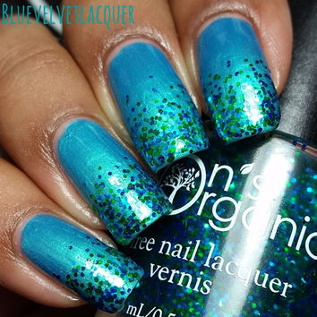 """Vegan Glitter 3-Free Nail Polish - """"Hawk's Nest"""" - Greens and Blues - Use an an overlay or on its own - Gifted at the MTV Movie Awards"""