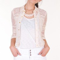 IVORY FLORAL LACE JACKET @ KiwiLook fashion