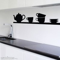 Tea Time Shelf Wall Decal Sticker