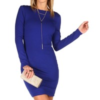 Royal Exposed Back Zipper Fitted Dress