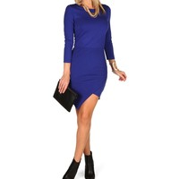 Royal Solid Asymmetrical Hem Dress