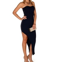 Navy Side Zip Asymmetrical Dress