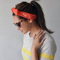 Coral triangles hand printed silk fabric headwrap headband