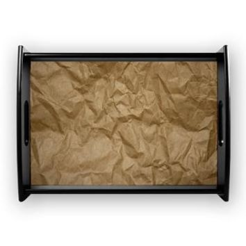 Brown Paper Large Serving Tray> Wrinkled Crumpled Paper Texture> Strawberry and Hearts