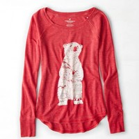 AEO Women's Thermal Graphic T-shirt (Twilight Red)