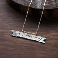 Sterling Silver Ribbon Banner Necklace Personalized by 141ATELIER