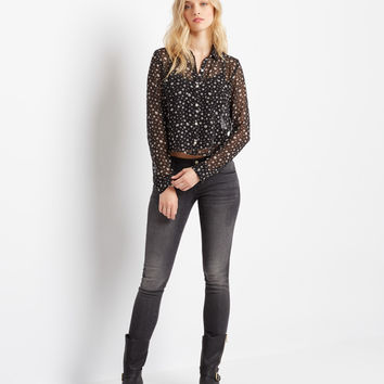 Aeropostale  Long Sleeve Sheer Diamond Cropped Woven Top