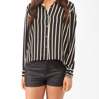 High-Low Vertical Striped Shirt
