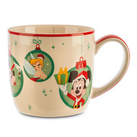 Mickey and Minnie Mouse with Tinker Bell Holiday Mug