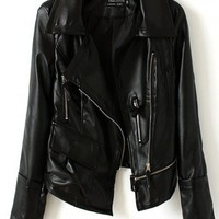 Women Euro Style Locomotive Zipper Washed PU Long Sleeve Short Black Leather Coat S/M/L@II0164b $31.99 only in eFexcity.com.