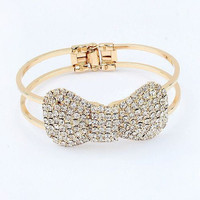 Fashion Sweet Shinny Rhinestone Bow Bangle Bracelet wholesale