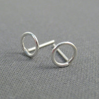 Sterling Silver Post Earrings - Small Open Circles - Simple Modern Minimal Earrings