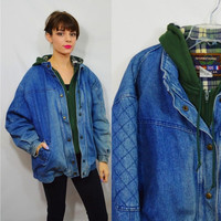 Hooded Denim Jacket 90s Heavy Coat Soft Grunge Hipster Vintage Women's Clothing Distressed Grungy 1990s Faded Blue Jean Jacket Plaid Flannel