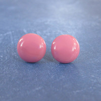 Dark Pink Stud Earrings, Hypoallergenic Pierced Earrings, Hand Made Women's Jewelry - Sumter -2378 -4 - $14.00 - Handmade Jewelry, Crafts and Unique Gifts by MySassyGlass