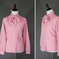 Vintage Blouse / Tie Neck / Pussy Bow / Pink / 1970&#x27;s