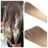 """Ombre Hair Extension - Blonde Ombre Hair - Ash Blonde Ombre Clip In Hair Extension - 22"""" light Ash Brown to Blonde Clip in Hair"""