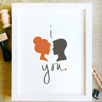 i love you art print 8 x 10 silhouette couple print illustration in red and brown with white background and handwritten lettering