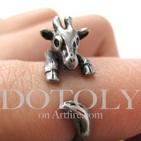 Miniature Baby Giraffe Ring in Silver Sizes 4 to 9 available by Dotoly