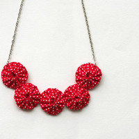 Yoyo necklace Red white polka dot  cotton fabric Summer chic fashion Strawberry