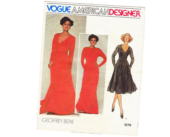 Vintage Sewing Pattern Goddess Tent Dress Gown Geoffrey Beene Vogue