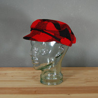 Vintage Red Flannel Hat / Mod Hat / Newsboy Cap / 1960&#x27;s