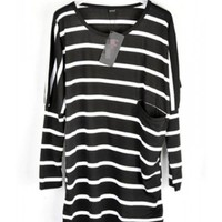 Women Cotton Casual Black Stripped Pocket One Size T-Shirt @A6003b