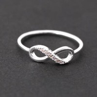 INFINITE ring with crystals in silver by bythecoco on Zibbet