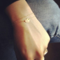 Medium Heart  Bracelet - Layered Bracelet -  Heart Initial Layered Bracelet  - All 14k Gold Filled - Personalization Gift