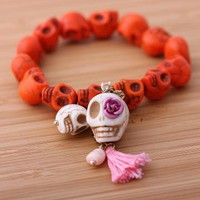 SKULLCANDY bracelet in orange by bythecoco on Zibbet