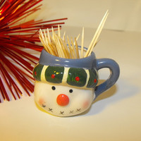 Ceramic Christmas Snowman Toothpick Holder Cup