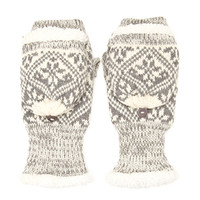 FOREVER 21 Faux Fur Convertible Mittens Grey/Cream One
