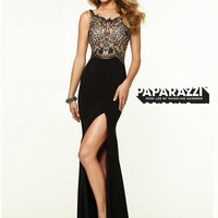 High Neck Beaded With High Slit Paparazzi Prom Dress By Mori Lee 97091