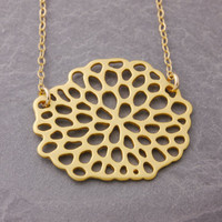 Gold Mum Necklace, chrysanthemum necklace, gold mum, flower necklace, gold necklace, beehive necklace, holiday sale, black friday