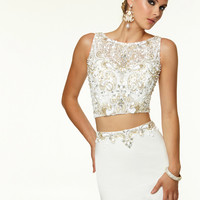 Two Piece High Neck Beaded Paparazzi Prom Dress By Mori Lee 97032