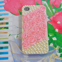 Pearl flash shell cloth flower iPhone 4 4S hard Case Cover For Apple iPhone 4 Case, iPhone 4s Case, iPhone 4 gs Case  -0139