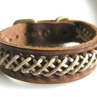 jewelry bangle buckle bracelet leather bracelet woven bracelet men bracelet women bracelet made of brown leather and ropes woven sh-0550